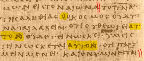 Extract from John 14 - The Scribe's Corrections
