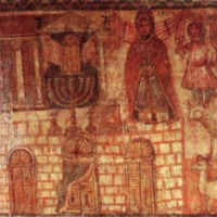 Menorah Fresco Paintings from Western wall of 3rd centuryCE synagogue at Dura Europos Harpers Bible Dictionary.png